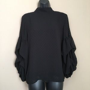 H&M Black Button Back Calypso Sleeve Blouse